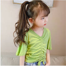 T-shirt Orange, green Other / other 100cm,110cm,120cm,130cm,140cm,150cm female Short sleeve other Solid color Three months, six months tassels