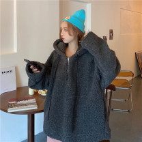 Sweater / sweater Winter 2020 Black, dark grey M,L,XL Long sleeves routine Socket singleton  Plush Hood easy commute routine Solid color 18-24 years old 96% and above Korean version polyester fiber polyester fiber Cotton liner zipper