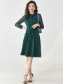 Dress Spring 2021 Red, dark green, Tibetan blue, Tibetan blue has a belt, dark green has a belt, red has a belt L,2XL,M,4XL,XS,6XL,5XL,XL,S,3XL,F Middle-skirt singleton  Long sleeves Sweet other middle-waisted Socket routine 30-34 years old 9 Charms 9m