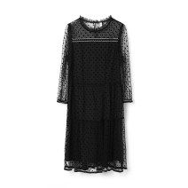 Dress Spring 2021 black 2XL,L,S,XL,M,3XL,4XL,6XL,XS,5XL,F Middle-skirt singleton  Nine point sleeve Sweet Crew neck middle-waisted Socket routine 30-34 years old 9 Charms 9m