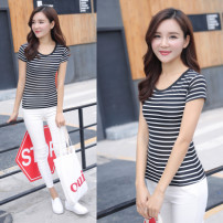 T-shirt 18-24 years old other 96% and above Short sleeve Summer 2016 Regular payment Crew neck Self cultivation routine commute Coarse horizontal stripe Other / other youth literature Printing, thread