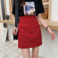 skirt Spring 2020 S,M,L,XL,2XL,3XL,4XL Red, black Short skirt commute High waist A-line skirt Solid color Type A 51% (inclusive) - 70% (inclusive) other other Korean version