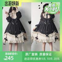 Dress Autumn of 2019 Cross collar for dress S,M,L Middle-skirt singleton  Long sleeves Sweet stand collar Decor Princess Dress Princess sleeve Others 18-24 years old Type O 81% (inclusive) - 90% (inclusive) brocade cotton