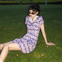 Dress Summer 2020 violet S,M,L Mid length dress Short sleeve commute square neck High waist Broken flowers A-line skirt 18-24 years old serious zizifei Retro More than 95% Chiffon polyester fiber