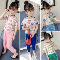 T-shirt Pink royal blue sky blue green Little red fish 100cm 110cm 120cm 130cm 140cm 150cm neutral summer Short sleeve Crew neck leisure time There are models in the real shooting nothing other other Other 100%