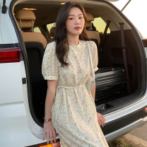 Dress Summer 2021 canary yellow S,M,L,XL Mid length dress singleton  Long sleeves commute Crew neck High waist Decor puff sleeve 18-24 years old Other / other Korean version 51% (inclusive) - 70% (inclusive) polyester fiber