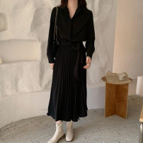 Dress Spring 2021 Black, card Average size longuette singleton  Long sleeves commute High waist Solid color Pleated skirt routine 18-24 years old Type A Other / other Korean version fold Chiffon polyester fiber