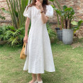 Dress Summer 2021 White, black Average size Mid length dress singleton  Short sleeve commute V-neck High waist Solid color Socket Big swing puff sleeve Others 18-24 years old Other / other Korean version 71% (inclusive) - 80% (inclusive) other other