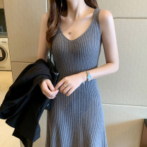 Dress Summer 2021 Average size longuette singleton  Sleeveless commute V-neck High waist Solid color Socket Big swing other camisole 18-24 years old Type A Mira cool clothes Korean version thread More than 95% other Other 100% Pure e-commerce (online only)