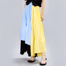 skirt Summer 2021 Average size longuette commute High waist Pleated skirt 18-24 years old 81% (inclusive) - 90% (inclusive) Other / other polyester fiber fold lady