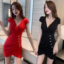 Dress Summer 2020 Red, black S,M,L Short skirt singleton  Short sleeve commute V-neck High waist Solid color zipper One pace skirt other Others Type A Ol style Splicing 51% (inclusive) - 70% (inclusive) other