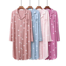 Pajamas / housewear set female Xiaomiyi Big size Sky blue cardigan, shrimp powder cardigan, light powder cardigan, Dousha purple cardigan, sky blue round collar, shrimp powder round collar, light powder round collar, Dousha purple round collar cotton Long sleeves Simplicity Leisure home spring modal