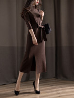 Dress Autumn of 2019 Noble coffee in stock, black and gold S,M,L,XL longuette singleton  elbow sleeve commute Half high collar middle-waisted Solid color Socket other routine Others Type H Simplicity Bright silk, bow 51% (inclusive) - 70% (inclusive) knitting wool