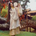 Hanfu 96% and above Winter 2020 Large sleeve shirt with golden leaf inside S M L polyester fiber