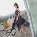Dress Summer 2021 navy blue S,M,L Middle-skirt singleton  Sleeveless street V-neck High waist zipper Irregular skirt camisole Type A 81% (inclusive) - 90% (inclusive) Lace Europe and America