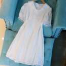 Dress Summer 2020 white S,M,L Short skirt singleton  Short sleeve Sweet High waist Solid color A-line skirt other Others Type A 30% and below princess