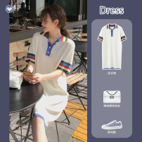 Dress Summer 2020 White, green S,M,L,XL Mid length dress singleton  Short sleeve commute Polo collar High waist Solid color Socket A-line skirt routine 25-29 years old Type A Korean version BJ-877-55