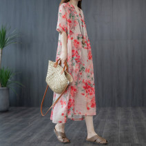 Dress Summer 2020 Red, green M [recommended 125 kg], l [recommended 125-140 kg], XL [recommended 140-155 kg], 2XL [recommended 155-170 kg] Mid length dress singleton  Short sleeve commute stand collar Loose waist Decor Single breasted routine 35-39 years old Korean version Pocket, panel, print cotton