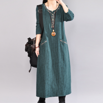 Dress Spring 2020 Red, black, green longuette singleton  Long sleeves commute Loose waist other routine Others 25-29 years old 81% (inclusive) - 90% (inclusive) cotton