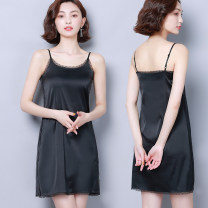 Dress Summer 2020 Black, white, apricot S,M,L,XL,2XL Short skirt singleton  Sleeveless commute Crew neck middle-waisted Solid color Socket A-line skirt routine camisole 30-34 years old Type A Korean version Stitching, lace