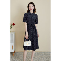 Dress Summer 2021 Dark Navy Blue S,M,L,XL Mid length dress singleton  Short sleeve commute Polo collar High waist other Single breasted other routine Type X cvanea Simplicity Strap, button CVZ170 31% (inclusive) - 50% (inclusive) silk