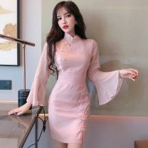 cheongsam Spring 2021 S,M,L Black, fairy powder other Short cheongsam Retro Low slit Straight front Solid color other