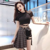 Fashion suit Summer 2021 S,M,L Black T , Black trousers , Plaid skirt , Real price of belt Other / other cotton