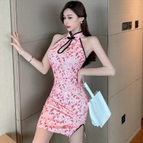 cheongsam Summer 2021 S,M,L Pink Sleeveless Short cheongsam Retro High slit daily Straight front Broken flowers Piping polyester fiber