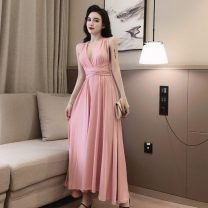 Dress Summer 2021 Pink, black Average size longuette singleton  Sleeveless commute V-neck High waist Solid color Socket Big swing routine camisole Type A Other / other Retro Fold, open back Chiffon polyester fiber