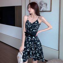 Dress Summer 2021 Decor S,M,L Short skirt singleton  Sleeveless commute V-neck High waist Decor A-line skirt camisole Type A literature Lace up, open back