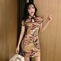 cheongsam Summer 2021 S,M,L Picture color Short sleeve Short cheongsam ethnic style Low slit daily Decor