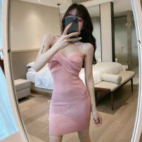 Dress Summer 2020 Black, pink Average size Short skirt singleton  Sleeveless commute V-neck High waist Solid color zipper One pace skirt camisole Type X Other / other Korean version backless