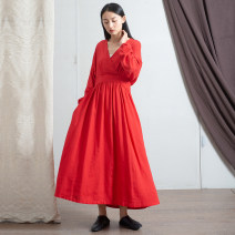 Dress Spring 2021 Red, black, linen Average size longuette singleton  Long sleeves commute V-neck Loose waist Solid color Socket Big swing bishop sleeve Others Type A literature Pocket, stitching, bandage, make old 71% (inclusive) - 80% (inclusive) hemp