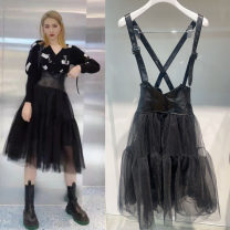 Dress Spring 2021 black XS,S,M Mid length dress singleton  street Solid color straps Splicing More than 95% other PU Punk