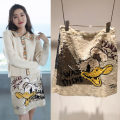 skirt Spring 2021 M,S,XS As shown in the picture Short skirt Versatile High waist skirt Cartoon animation Type A 25-29 years old DQ1611 More than 95% other Sequins, embroidery