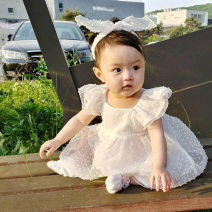 Jumpsuit / climbing suit / Khaki Other / other Class A female White, light yellow 66cm,73cm,80cm,90cm,100cm cotton summer Sleeveless Trigonometry Korean version There are models in the real shooting Socket 3 months, 6 months, 12 months, 9 months