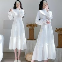 Women's large Spring 2021 White, black Large L, large XL, s, m, 2XL, 3XL, 4XL Dress singleton  Sweet Self cultivation Socket Long sleeves Solid color Crew neck Medium length Three dimensional cutting routine 18-24 years old Medium length other princess