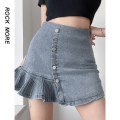 skirt Spring 2021 S,M,L blue Short skirt commute High waist A-line skirt Solid color Type A 18-24 years old More than 95% Denim polyester fiber Button