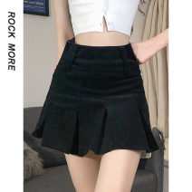 skirt Spring 2021 S,M,L Black, khaki Short skirt street High waist A-line skirt Solid color Type A 18-24 years old 91% (inclusive) - 95% (inclusive) corduroy polyester fiber zipper