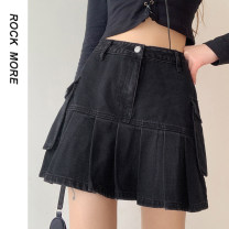 skirt Spring 2021 S,M,L black Short skirt street High waist A-line skirt Solid color Type A 18-24 years old ROMAD10771 91% (inclusive) - 95% (inclusive) Denim Button Europe and America