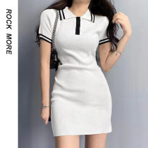 Dress Spring 2021 white S,M,L Short skirt singleton  Long sleeves Sweet Polo collar High waist Solid color other routine 18-24 years old Button, fold ROMAD10383 91% (inclusive) - 95% (inclusive) cotton