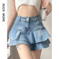 skirt Spring 2021 S,M,L blue Short skirt Sweet High waist Ruffle Skirt Solid color Type A 18-24 years old ROVAD10807 91% (inclusive) - 95% (inclusive) Denim other Ruffles, folds, asymmetry