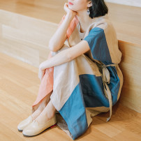 Dress Summer of 2019 Color matching S size stock, M size stock, L size stock Mid length dress singleton  Short sleeve commute Crew neck Loose waist Socket other 35-39 years old Type H Happy to go literature Pocket, lace up D-345 51% (inclusive) - 70% (inclusive) hemp