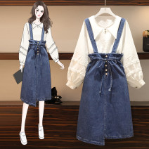Women's large Autumn 2020 Suit, top, skirt M [recommended 85-100 Jin], l [100-120 Jin], XL [120-140 Jin], 2XL [140-160 Jin recommended], 3XL [160-180 Jin recommended], 4XL [180-200 Jin recommended] Other oversize styles Two piece set commute easy moderate Socket Long sleeves Solid color Crew neck