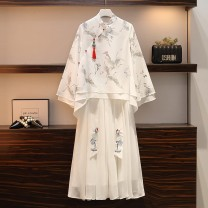 Women's large Spring 2021 White suit M [recommended 80-100 Jin], l [recommended 100-120 Jin], XL [120-140 Jin], 2XL [140-160 Jin recommended], 3XL [160-180 Jin recommended], 4XL [180-200 Jin recommended] Other oversize styles Two piece set commute easy thin Socket three quarter sleeve Animal design