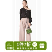 Casual pants Black, card powder S,M,L,XL Spring 2021 trousers Wide leg pants High waist commute routine 30% and below Other / other Chloroprene Simplicity spandex