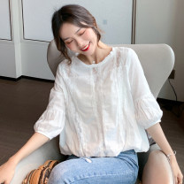 Lace / Chiffon Spring 2021 white S,M,L,XL Long sleeves commute Socket singleton  easy Regular Crew neck Solid color puff sleeve 18-24 years old G Gauze Korean version