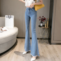 Jeans Spring 2021 Light blue, dark blue, black S,M,L,XL trousers High waist Flared trousers routine 18-24 years old Wash, zipper, button, multi pocket, other Cotton denim B 96% and above