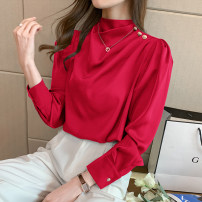 Lace / Chiffon Winter 2020 Red, blue, white, black S,M,L,XL,2XL Long sleeves commute Socket singleton  Straight cylinder Regular Half high collar Solid color shirt sleeve 18-24 years old P/24 Ruffles, ruffles, folds, Auricularia auricula, buttons Korean version
