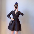 Dress Winter 2020 Black, green S,M,L Short skirt singleton  Long sleeves commute V-neck High waist Solid color Socket Big swing routine 25-29 years old Type A 51% (inclusive) - 70% (inclusive) other